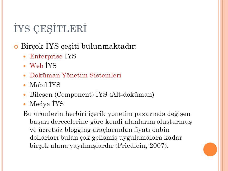 İYS ÇEŞİTLERİ Birçok İYS çeşiti bulunmaktadır: Enterprise İYS Web İYS Doküman Yönetim Sistemleri Mobil İYS Bileşen (Component) İYS (Alt-doküman) Medya