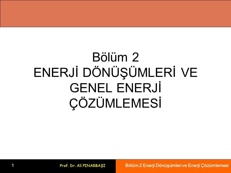 Bölüm 2 Enerji Dönüşümleri ve Enerji Çözümlemesi 1 Prof. Dr. Ali PINARBAŞI Bölüm 2 ENERJİ DÖNÜŞÜMLERİ VE GENEL ENERJİ ÇÖZÜMLEMESİ