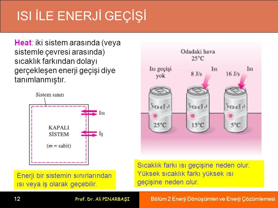 Bölüm 2 Enerji Dönüşümleri ve Enerji Çözümlemesi 12 Prof. Dr. Ali PINARBAŞI ISI İLE ENERJİ GEÇİŞİ Enerji bir sistemin sınırlarından ısı veya iş olarak