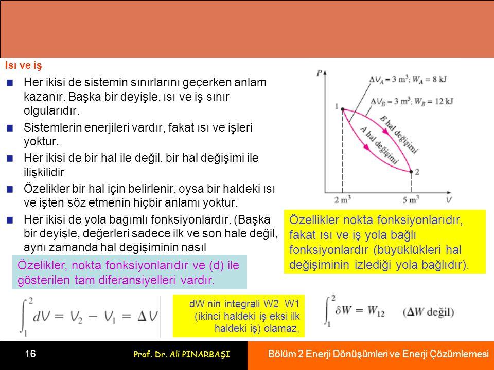 Bölüm 2 Enerji Dönüşümleri ve Enerji Çözümlemesi 16 Prof. Dr. Ali PINARBAŞI Isı ve iş Her ikisi de sistemin sınırlarını geçerken anlam kazanır. Başka