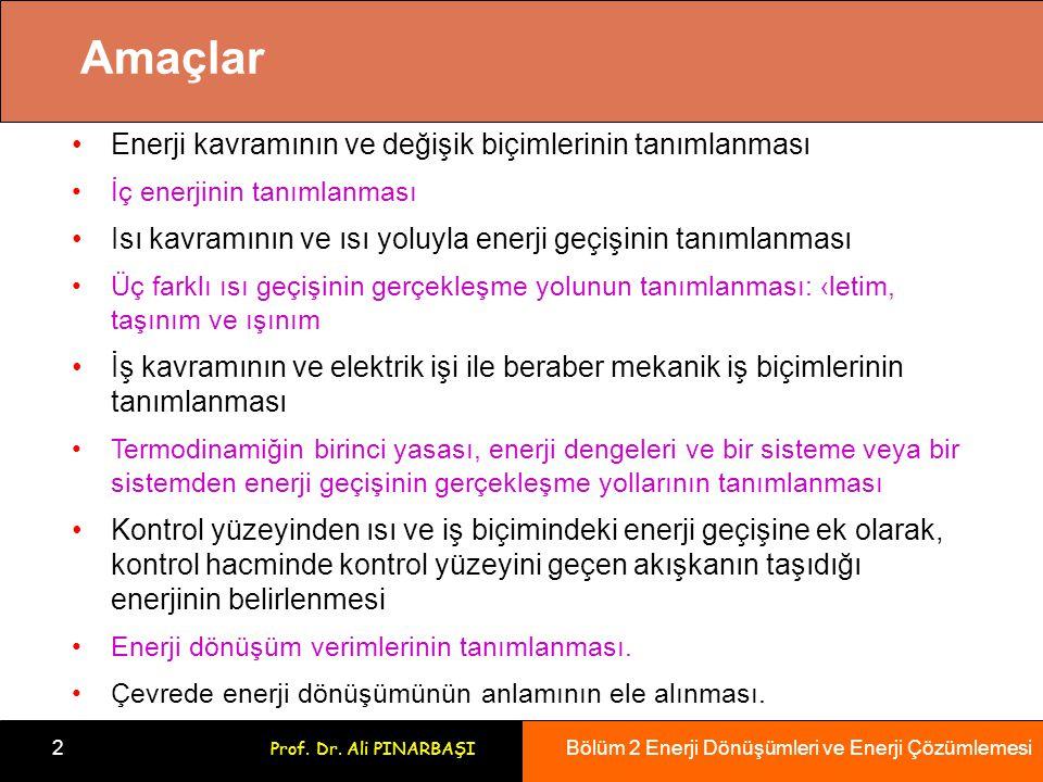 Bölüm 2 Enerji Dönüşümleri ve Enerji Çözümlemesi 2 Prof. Dr. Ali PINARBAŞI Amaçlar Enerji kavramının ve değişik biçimlerinin tanımlanması İç enerjinin