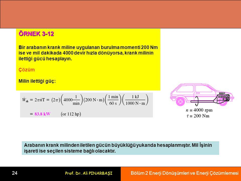 Bölüm 2 Enerji Dönüşümleri ve Enerji Çözümlemesi 24 Prof. Dr. Ali PINARBAŞI ÖRNEK 3-12 Bir arabanın krank miline uygulanan burulma momenti 200 Nm ise