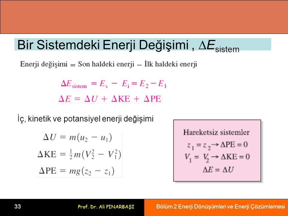 Bölüm 2 Enerji Dönüşümleri ve Enerji Çözümlemesi 33 Prof. Dr. Ali PINARBAŞI Bir Sistemdeki Enerji Değişimi,  E sistem İç, kinetik ve potansiyel enerj