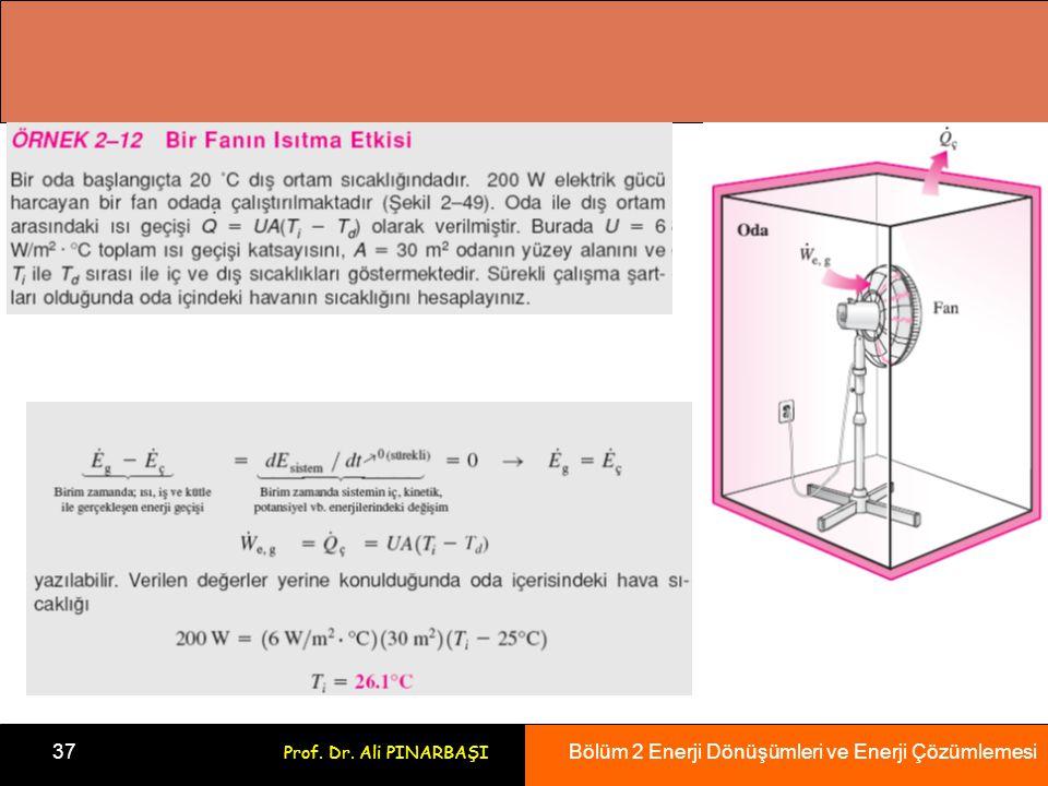 Bölüm 2 Enerji Dönüşümleri ve Enerji Çözümlemesi 37 Prof. Dr. Ali PINARBAŞI