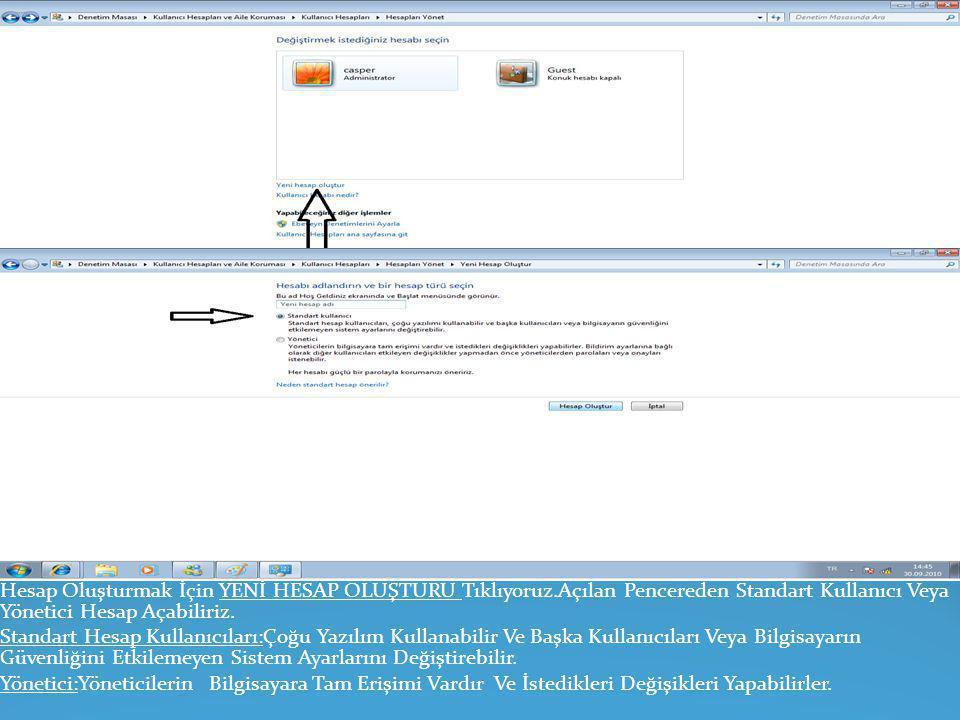 Ekrana da Bulunan Penceredeki Önemli Bölümlerin Açıklaması Şu Şekildedir: Kullanıcı Hesapları: Kullanıcı Hesaplarını Yönete Bilir, Bir Hesap Ekleyebil