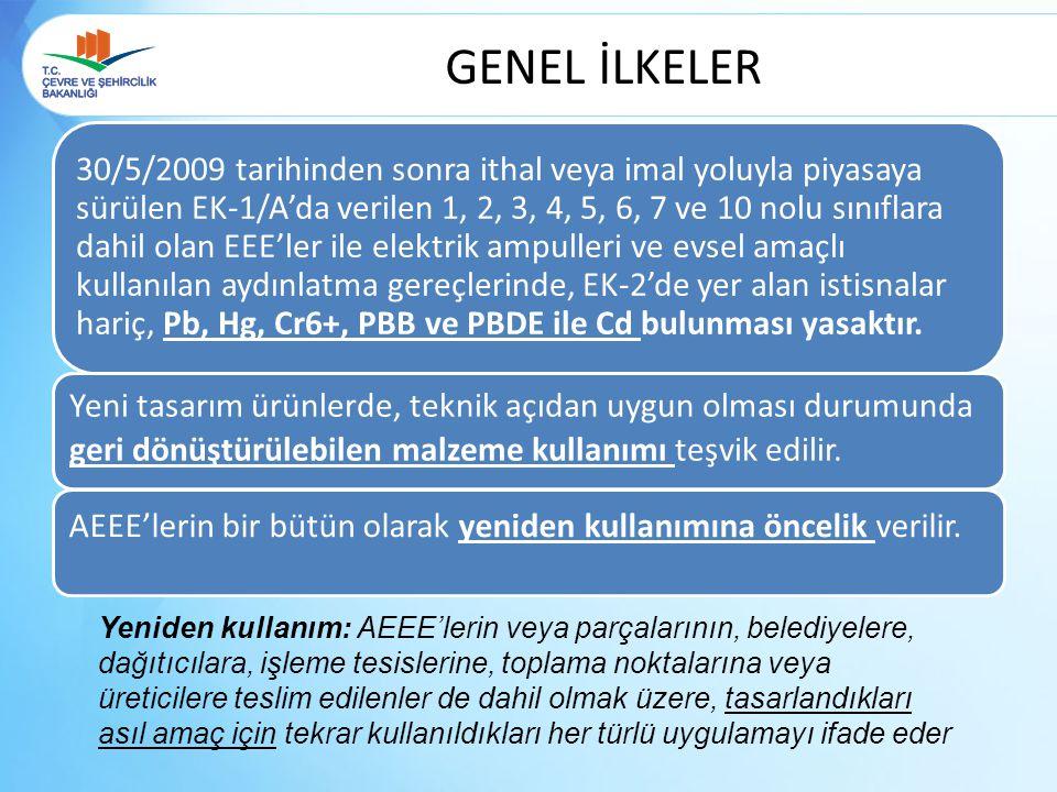 GENEL İLKELER 30/5/2009 tarihinden sonra ithal veya imal yoluyla piyasaya sürülen EK-1/A'da verilen 1, 2, 3, 4, 5, 6, 7 ve 10 nolu sınıflara dahil ola