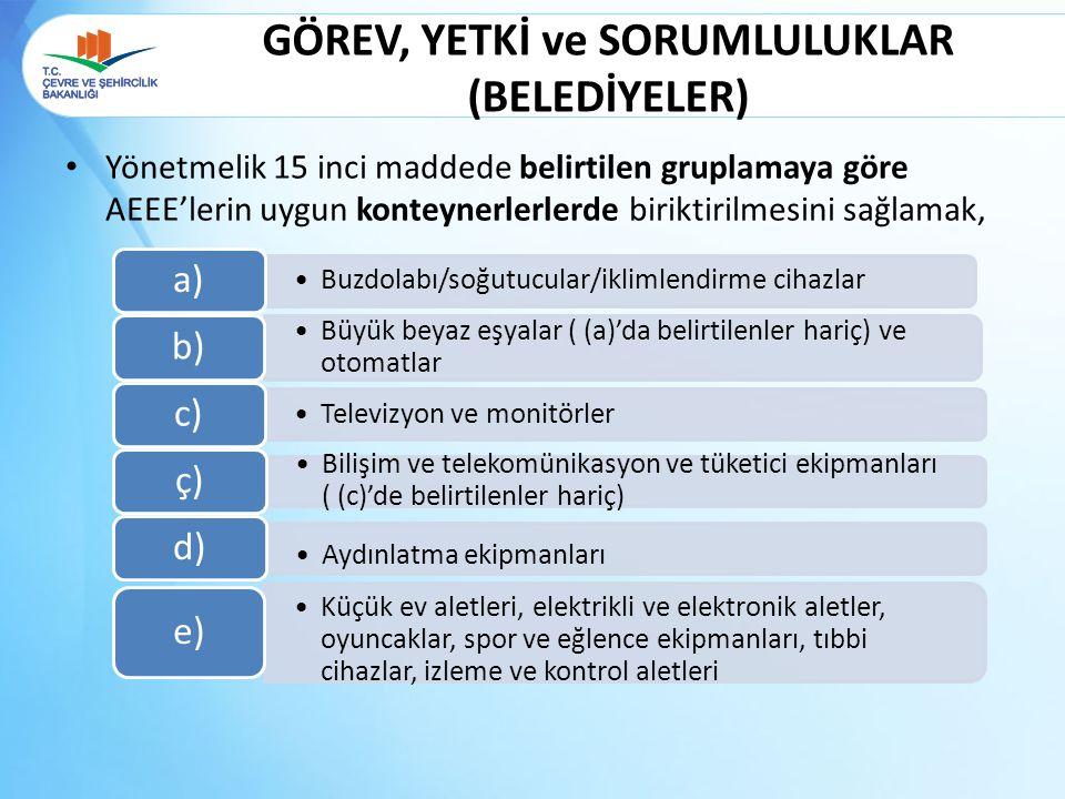 GÖREV, YETKİ ve SORUMLULUKLAR (BELEDİYELER) Yönetmelik 15 inci maddede belirtilen gruplamaya göre AEEE'lerin uygun konteynerlerlerde biriktirilmesini
