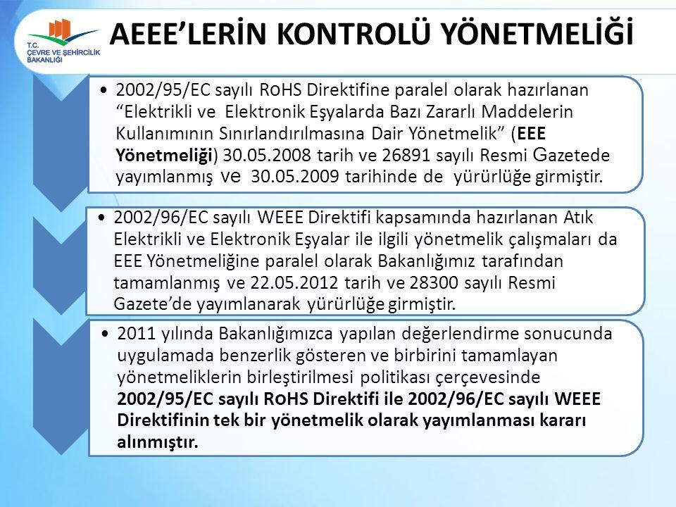 """AEEE'LERİN KONTROLÜ YÖNETMELİĞİ 2002/95/EC sayılı R o HS Direktifine paralel olarak hazırlanan """"Elektrikli ve Elektronik Eşyalarda Bazı Zararlı Maddel"""
