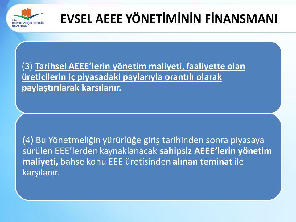 EVSEL AEEE YÖNETİMİNİN FİNANSMANI (4) Bu Yönetmeliğin yürürlüğe giriş tarihinden sonra piyasaya sürülen EEE'lerden kaynaklanacak sahipsiz AEEE'lerin y