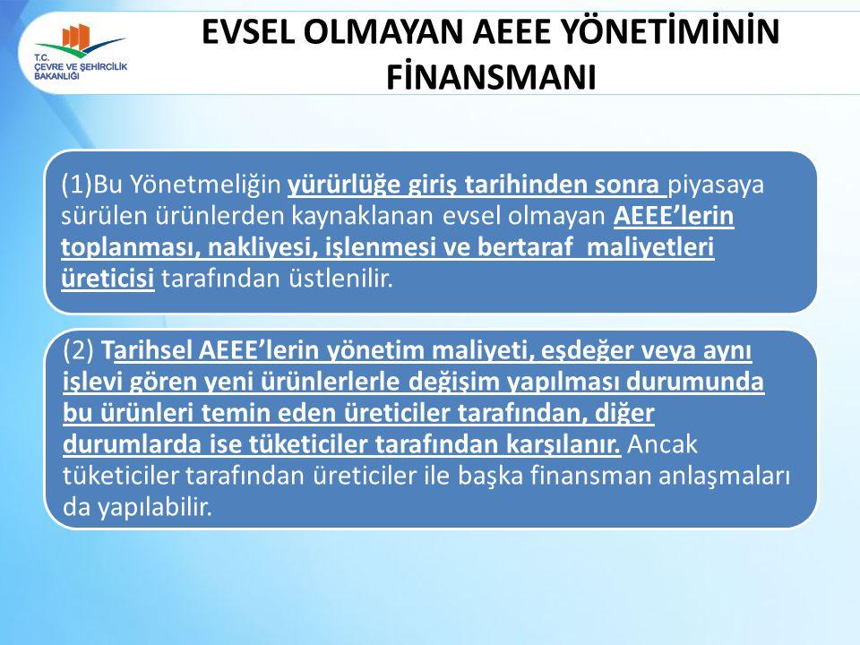 EVSEL OLMAYAN AEEE YÖNETİMİNİN FİNANSMANI (2) Tarihsel AEEE'lerin yönetim maliyeti, eşdeğer veya aynı işlevi gören yeni ürünlerlerle değişim yapılması
