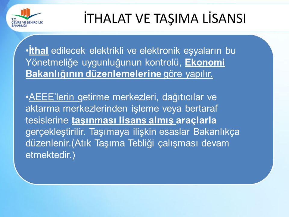 İTHALAT VE TAŞIMA LİSANSI İthal edilecek elektrikli ve elektronik eşyaların bu Yönetmeliğe uygunluğunun kontrolü, Ekonomi Bakanlığının düzenlemelerine