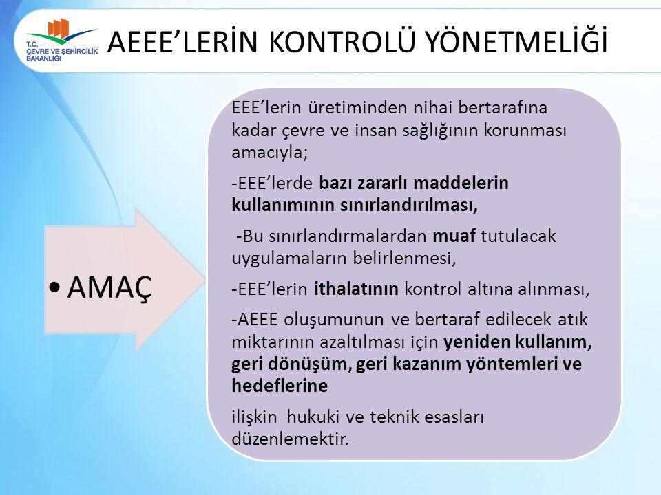 AEEE'LERİN KONTROLÜ YÖNETMELİĞİ EEE'lerin üretiminden nihai bertarafına kadar çevre ve insan sağlığının korunması amacıyla; -EEE'lerde bazı zararlı ma
