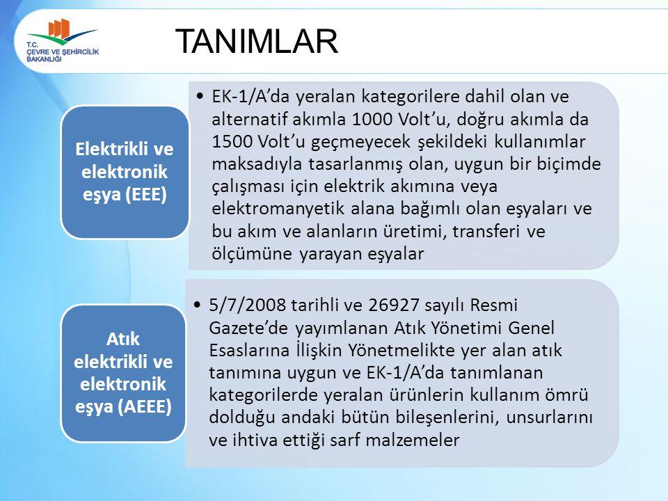 TANIMLAR EK-1/A'da yeralan kategorilere dahil olan ve alternatif akımla 1000 Volt'u, doğru akımla da 1500 Volt'u geçmeyecek şekildeki kullanımlar maks