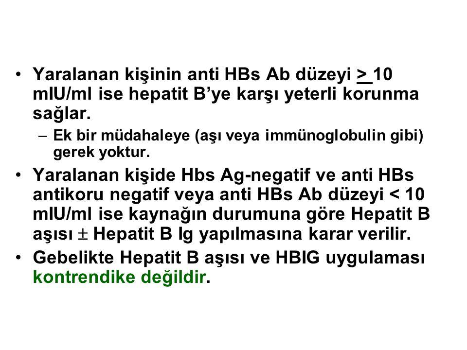 Yaralanan kişinin anti HBs Ab düzeyi > 10 mIU/ml ise hepatit B'ye karşı yeterli korunma sağlar. –Ek bir müdahaleye (aşı veya immünoglobulin gibi) gere