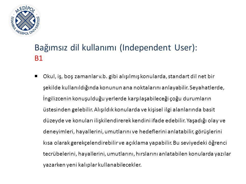 Bağımsız dil kullanımı (Independent User): B1  Okul, iş, boş zamanlar v.b. gibi alışılmış konularda, standart dil net bir şekilde kullanıldığında kon