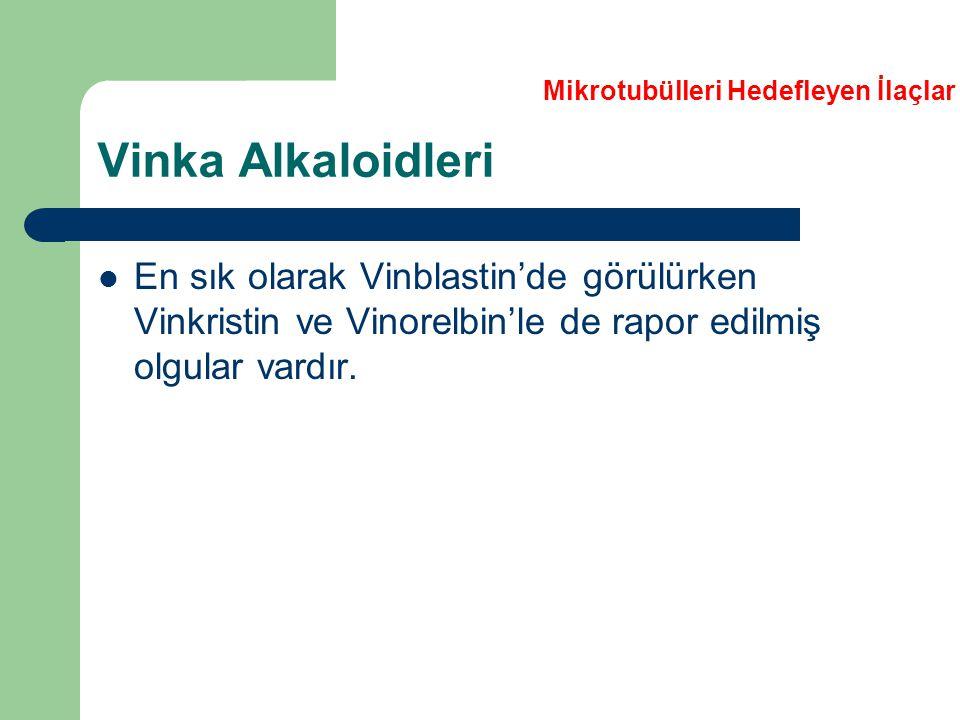 Vinka Alkaloidleri En sık olarak Vinblastin'de görülürken Vinkristin ve Vinorelbin'le de rapor edilmiş olgular vardır. Mikrotubülleri Hedefleyen İlaçl