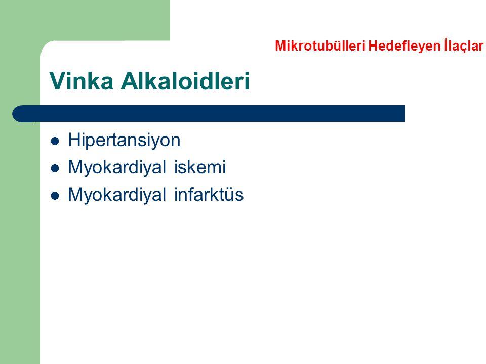 Vinka Alkaloidleri Hipertansiyon Myokardiyal iskemi Myokardiyal infarktüs Mikrotubülleri Hedefleyen İlaçlar
