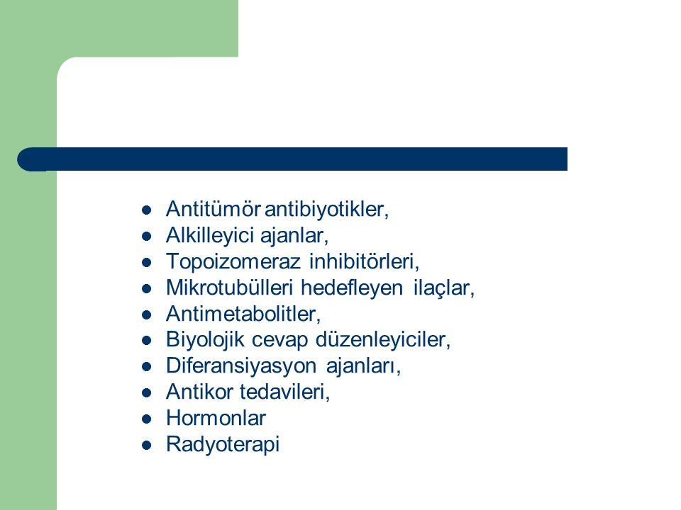 Antitümör antibiyotikler, Alkilleyici ajanlar, Topoizomeraz inhibitörleri, Mikrotubülleri hedefleyen ilaçlar, Antimetabolitler, Biyolojik cevap düzenl