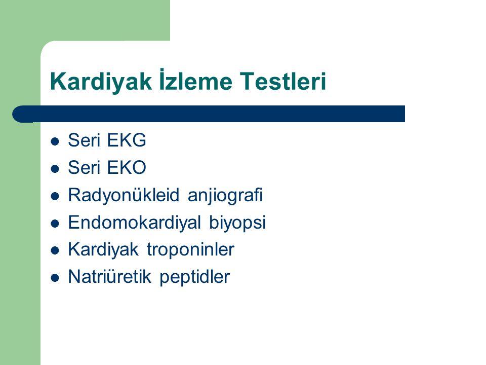 Kardiyak İzleme Testleri Seri EKG Seri EKO Radyonükleid anjiografi Endomokardiyal biyopsi Kardiyak troponinler Natriüretik peptidler