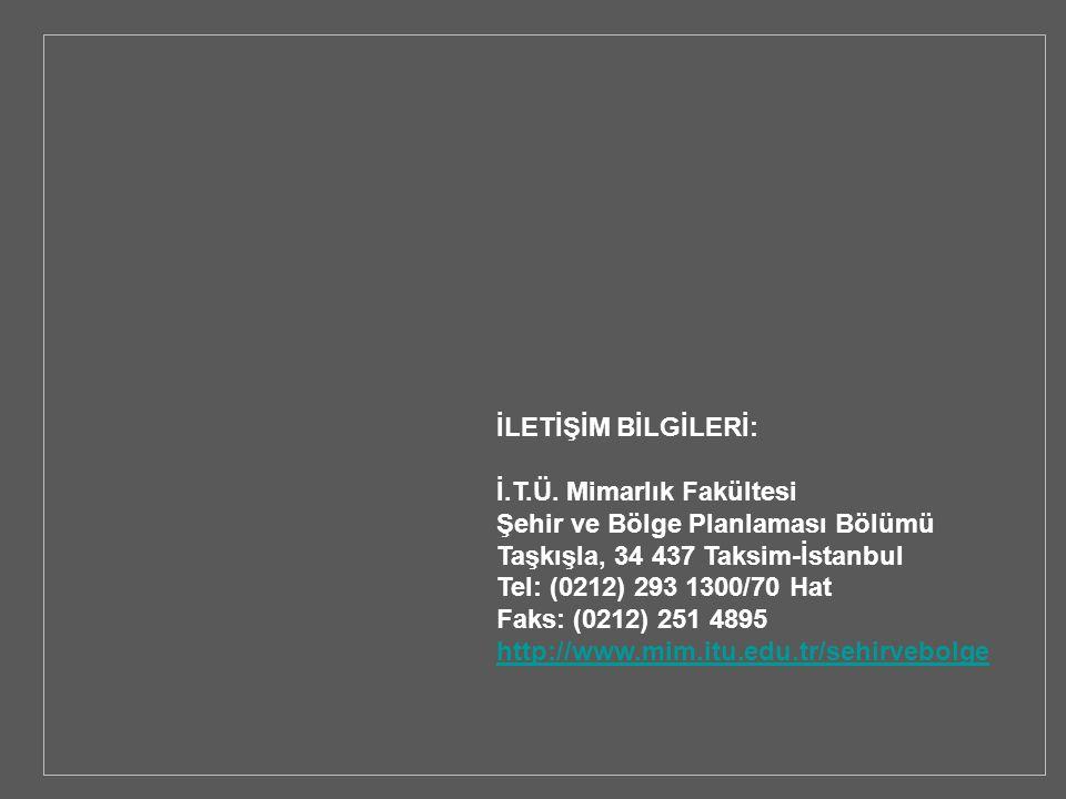 İLETİŞİM BİLGİLERİ: İ.T.Ü. Mimarlık Fakültesi Şehir ve Bölge Planlaması Bölümü Taşkışla, 34 437 Taksim-İstanbul Tel: (0212) 293 1300/70 Hat Faks: (021