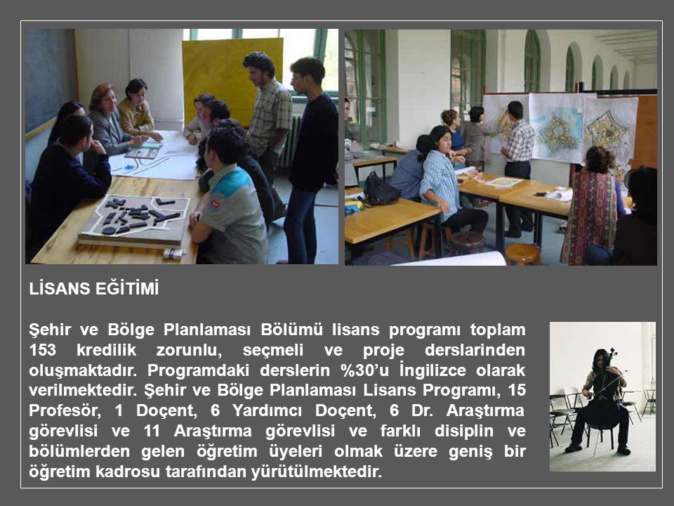 LİSANS EĞİTİMİ Şehir ve Bölge Planlaması Bölümü lisans programı toplam 153 kredilik zorunlu, seçmeli ve proje derslarinden oluşmaktadır. Programdaki d