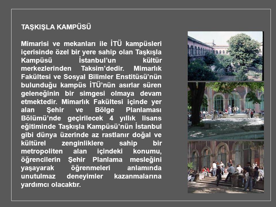 TAŞKIŞLA KAMPÜSÜ Mimarisi ve mekanları ile İTÜ kampüsleri içerisinde özel bir yere sahip olan Taşkışla Kampüsü İstanbul'un kültür merkezlerinden Taksi