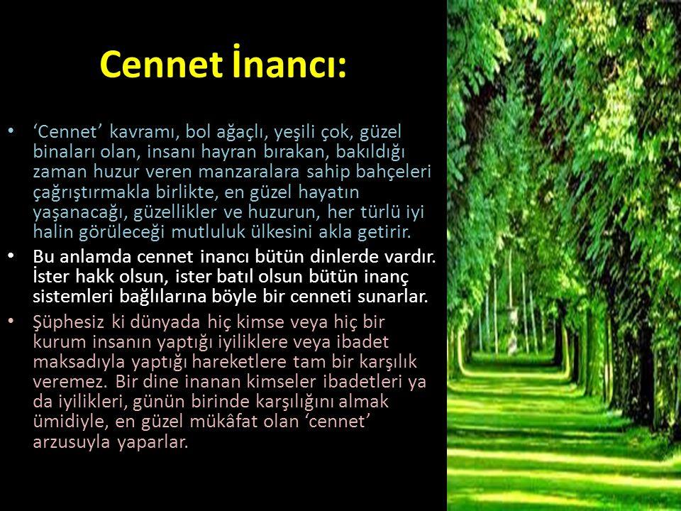 Cennet İnancı: 'Cennet' kavramı, bol ağaçlı, yeşili çok, güzel binaları olan, insanı hayran bırakan, bakıldığı zaman huzur veren manzaralara sahip bah