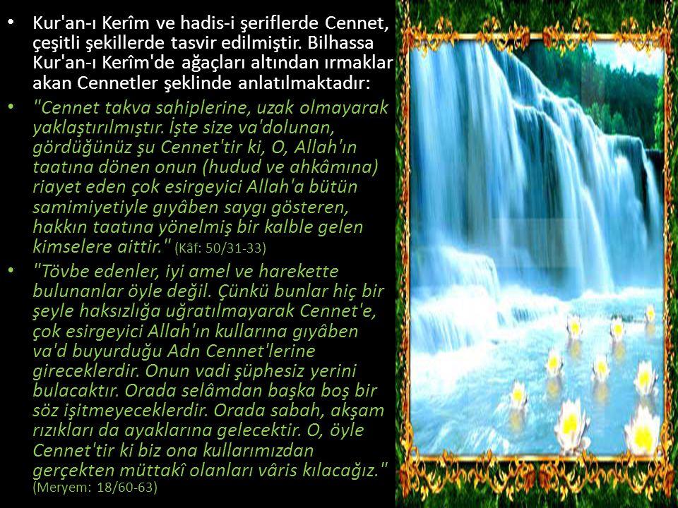 Kur'an-ı Kerîm ve hadis-i şeriflerde Cennet, çeşitli şekillerde tasvir edilmiştir. Bilhassa Kur'an-ı Kerîm'de ağaçları altından ırmaklar akan Cennetle