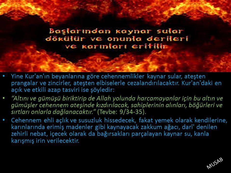 Yine Kur'an'ın beyanlarına göre cehennemlikler kaynar sular, ateşten prangalar ve zincirler, ateşten elbiselerle cezalandırılacaktır. Kur'an'daki en a
