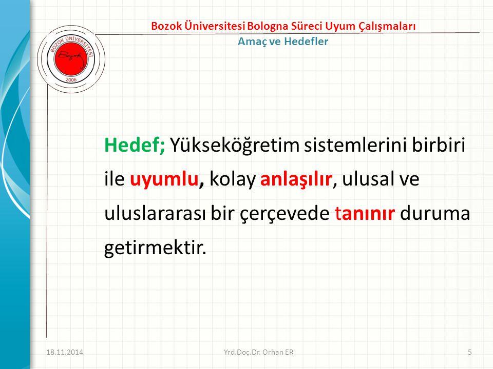 Hedef; Yükseköğretim sistemlerini birbiri ile uyumlu, kolay anlaşılır, ulusal ve uluslararası bir çerçevede tanınır duruma getirmektir.
