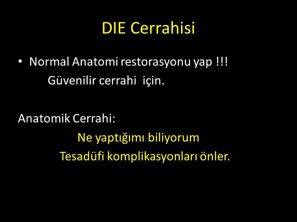DIE Cerrahisi Normal Anatomi restorasyonu yap !!! Güvenilir cerrahi için. Anatomik Cerrahi: Ne yaptığımı biliyorum Tesadüfi komplikasyonları önler.