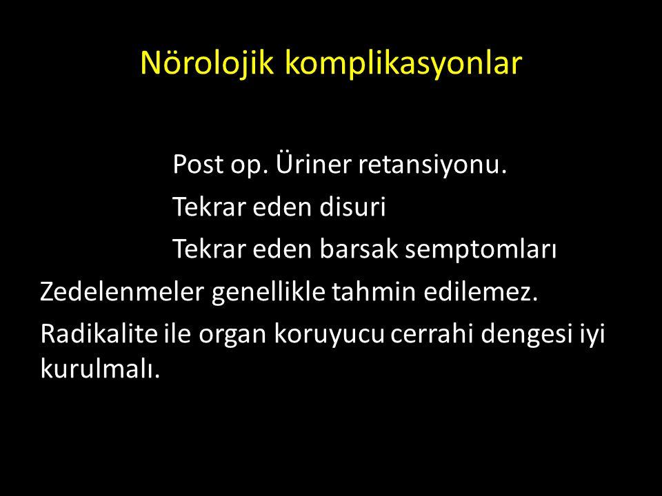 Nörolojik komplikasyonlar Post op. Üriner retansiyonu. Tekrar eden disuri Tekrar eden barsak semptomları Zedelenmeler genellikle tahmin edilemez. Radi