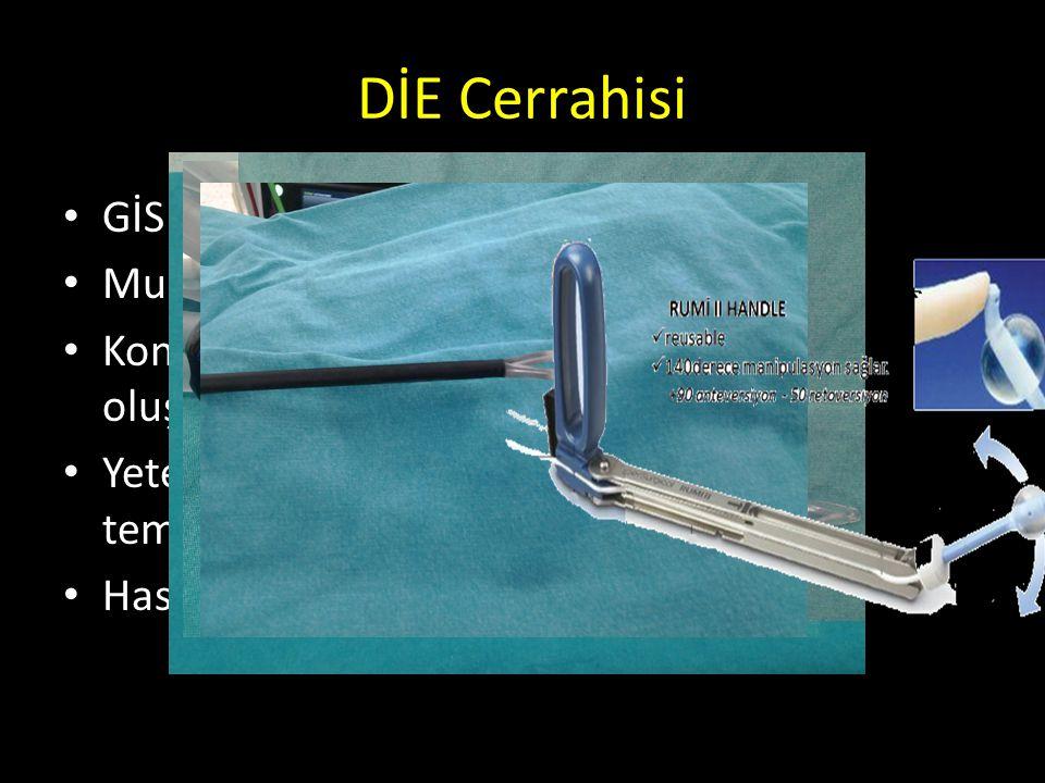 DİE Cerrahisi GİS, Üreter, Mesane tutulumu ? Multidisipliner yaklaşım Konu ile ilgili cerrahide tecrübeli ekibin oluşturulması. Yeterli malzeme ve ale