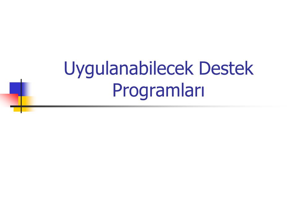 Uygulanabilecek Destek Programları