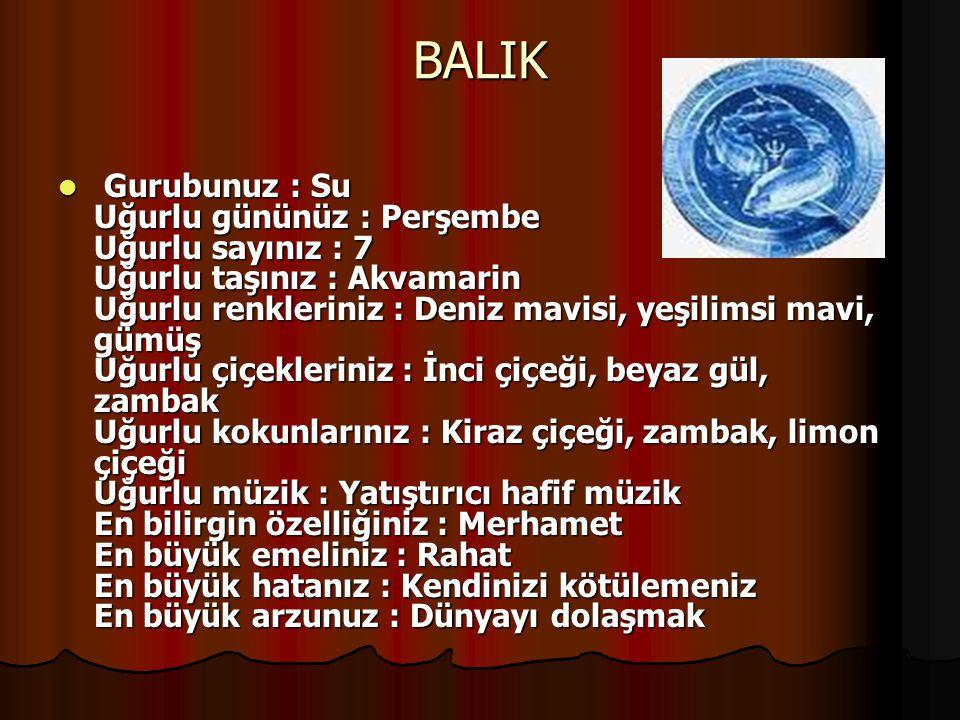 BALIK Gurubunuz : Su Uğurlu gününüz : Perşembe Uğurlu sayınız : 7 Uğurlu taşınız : Akvamarin Uğurlu renkleriniz : Deniz mavisi, yeşilimsi mavi, gümüş