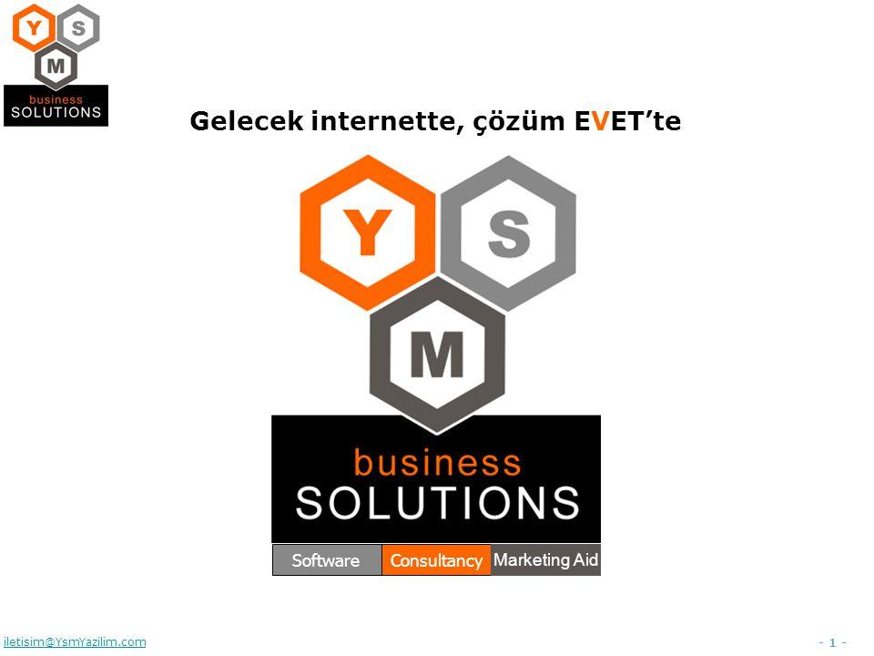 - 1 - iletisim@YsmYazilim.com Gelecek internette, çözüm EVET'te SoftwareConsultancy Marketing Aid