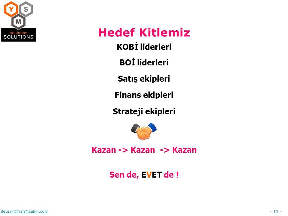 - 13 - iletisim@YsmYazilim.com Hedef Kitlemiz KOBİ liderleri BOİ liderleri Satış ekipleri Finans ekipleri Strateji ekipleri Kazan -> Kazan -> Kazan Sen de, EVET de !