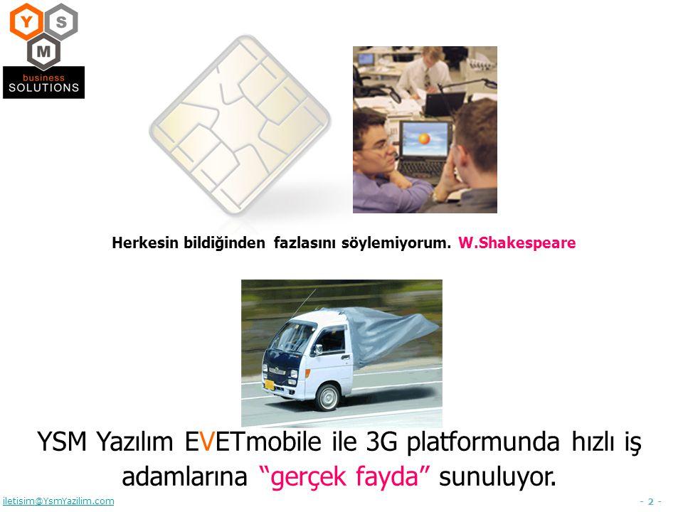 - 2 - iletisim@YsmYazilim.com Herkesin bildiğinden fazlasını söylemiyorum. W.Shakespeare YSM Yazılım EVETmobile ile 3G platformunda hızlı iş adamların