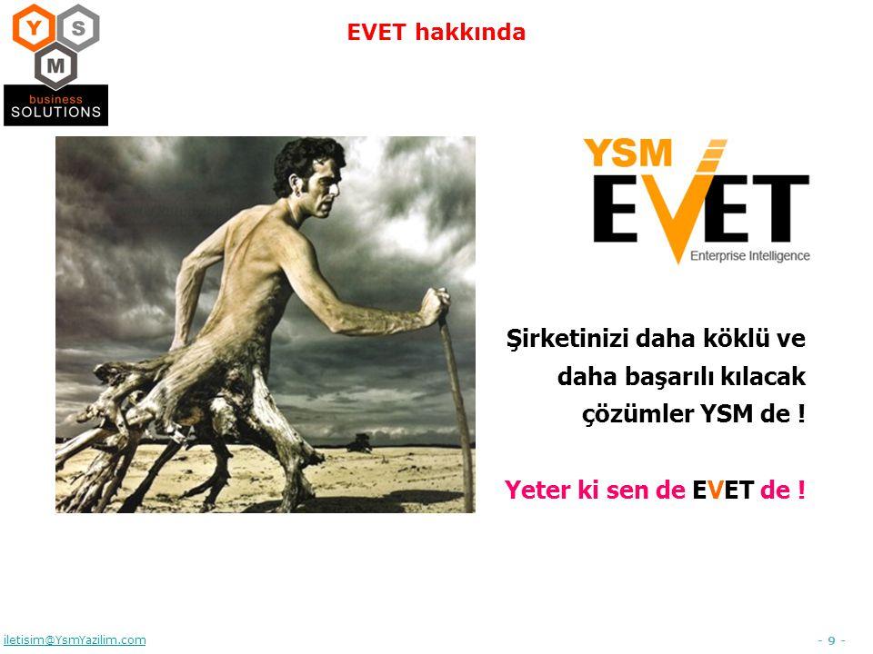 - 9 - iletisim@YsmYazilim.com EVET hakkında Şirketinizi daha köklü ve daha başarılı kılacak çözümler YSM de ! Yeter ki sen de EVET de !