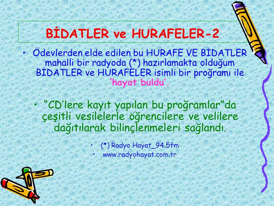 BİDATLER ve HURAFELER-2 Ödevlerden elde edilen bu HURAFE VE BİDATLER mahalli bir radyoda (*) hazırlamakta olduğum BİDATLER ve HURAFELER isimli bir pro