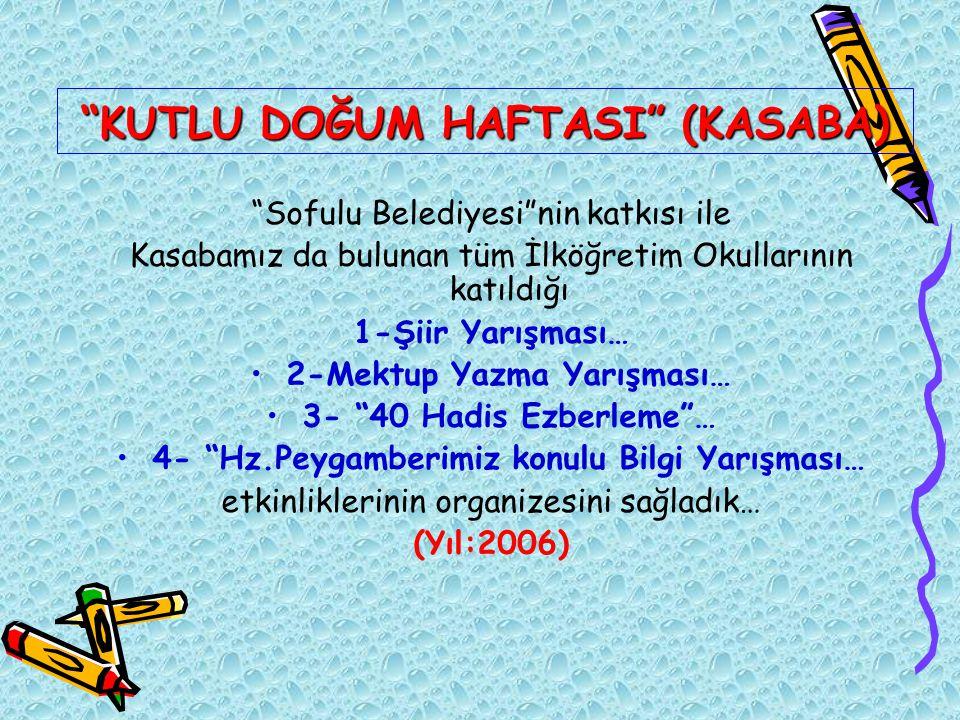 """""""KUTLU DOĞUM HAFTASI"""" (KASABA) """"Sofulu Belediyesi""""nin katkısı ile Kasabamız da bulunan tüm İlköğretim Okullarının katıldığı 1-Şiir Yarışması… 2-Mektup"""