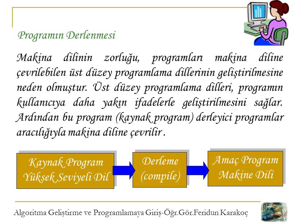 Algoritma Geliştirme ve Programlamaya Giriş-Öğr.Gör.Feridun Karakoç Makina dilinin zorluğu, programları makina diline çevrilebilen üst düzey programla