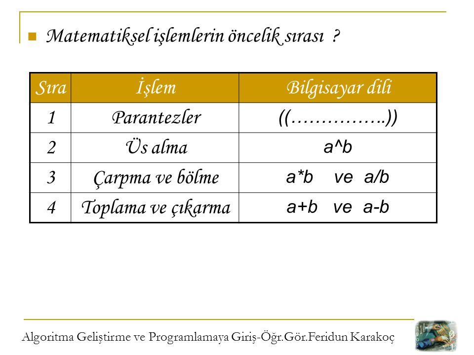 Algoritma Geliştirme ve Programlamaya Giriş-Öğr.Gör.Feridun Karakoç Matematiksel işlemlerin öncelik sırası ? SıraİşlemBilgisayar dili 1Parantezler ((…