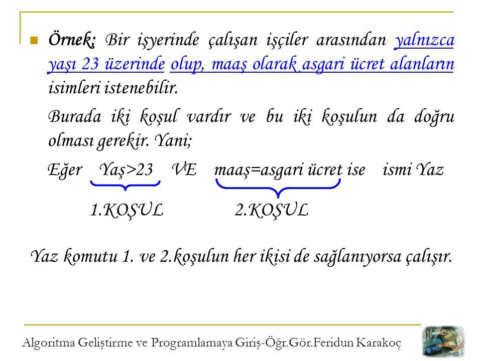 Algoritma Geliştirme ve Programlamaya Giriş-Öğr.Gör.Feridun Karakoç Örnek; Bir işyerinde çalışan işçiler arasından yalnızca yaşı 23 üzerinde olup, maa