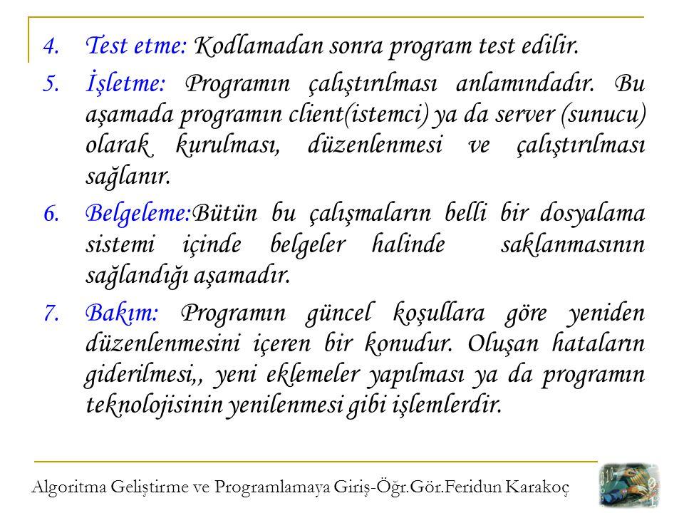 Algoritma Geliştirme ve Programlamaya Giriş-Öğr.Gör.Feridun Karakoç 4. Test etme: Kodlamadan sonra program test edilir. 5. İşletme: Programın çalıştır
