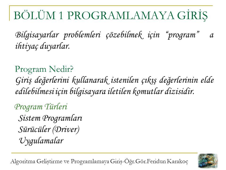 """Algoritma Geliştirme ve Programlamaya Giriş-Öğr.Gör.Feridun Karakoç BÖLÜM 1 PROGRAMLAMAYA GİRİŞ Bilgisayarlar problemleri çözebilmek için """"program"""" a"""