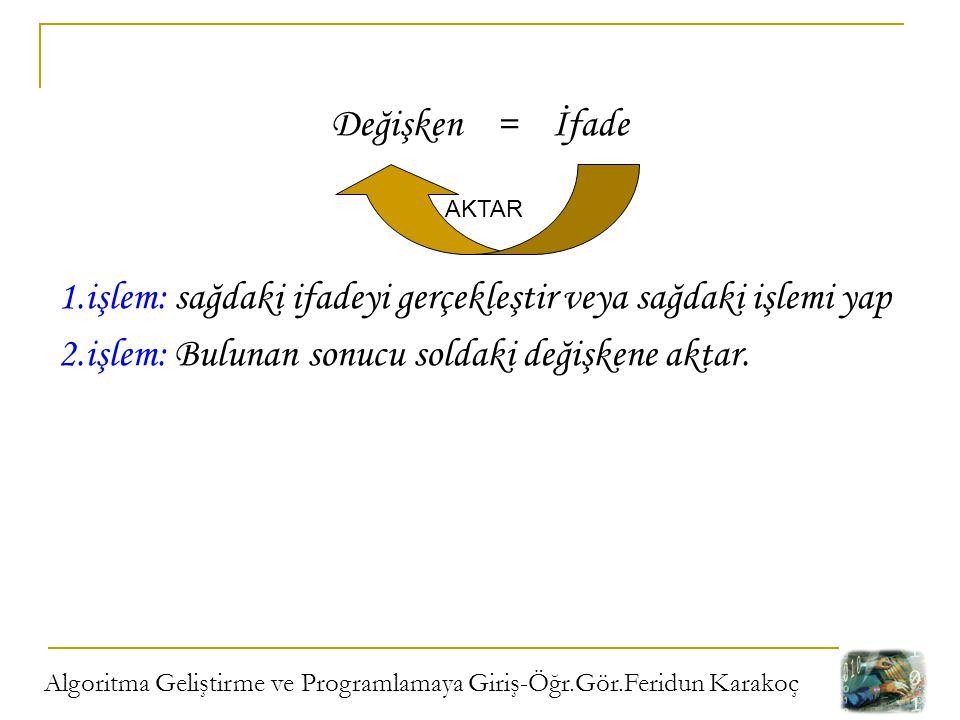 Algoritma Geliştirme ve Programlamaya Giriş-Öğr.Gör.Feridun Karakoç Değişken = İfade 1.işlem: sağdaki ifadeyi gerçekleştir veya sağdaki işlemi yap 2.i