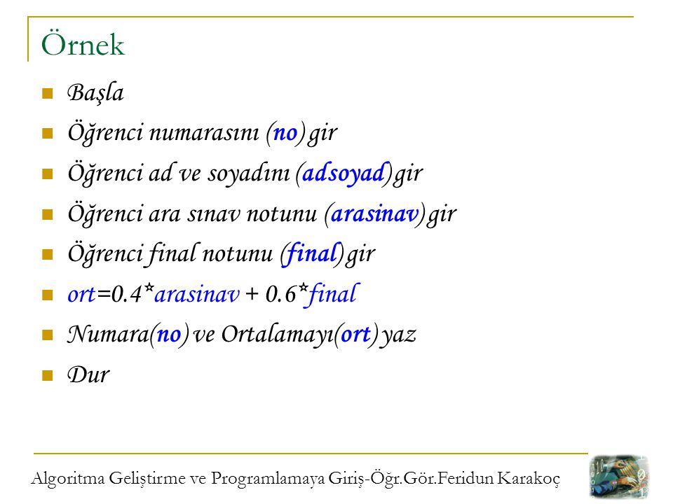 Algoritma Geliştirme ve Programlamaya Giriş-Öğr.Gör.Feridun Karakoç Örnek Başla Öğrenci numarasını (no) gir Öğrenci ad ve soyadını (adsoyad) gir Öğren