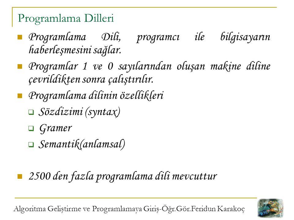 Algoritma Geliştirme ve Programlamaya Giriş-Öğr.Gör.Feridun Karakoç Programlama Dilleri; Düşük Seviyeli Diller: Makine dillerini içerir.