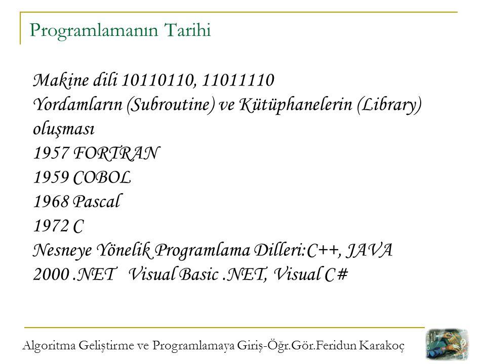 Algoritma Geliştirme ve Programlamaya Giriş-Öğr.Gör.Feridun Karakoç Programlamanın Tarihi Makine dili 10110110, 11011110 Yordamların (Subroutine) ve K